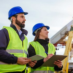 a male and female civil engineer