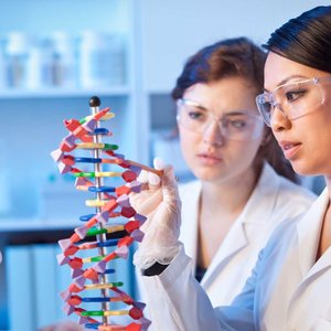two female scientists studying molecules