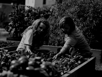 Two women working in an urban garden