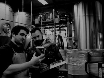 Brewery workers examining beer in beaker