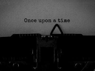 Text Once upon a time typed on retro typewriter